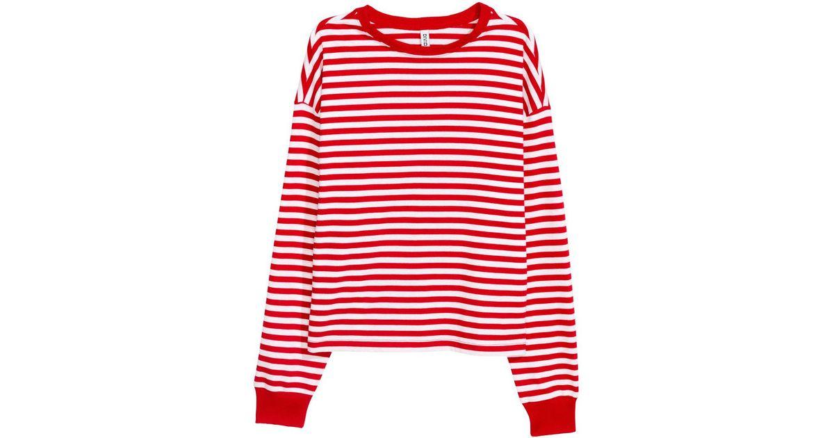 d3c5704bdf H&M Striped Jersey Top in Red - Lyst