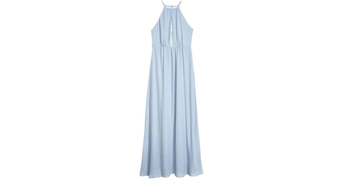 0e46d1ca921d H&M Long Dress With A Lace Back in Blue - Lyst