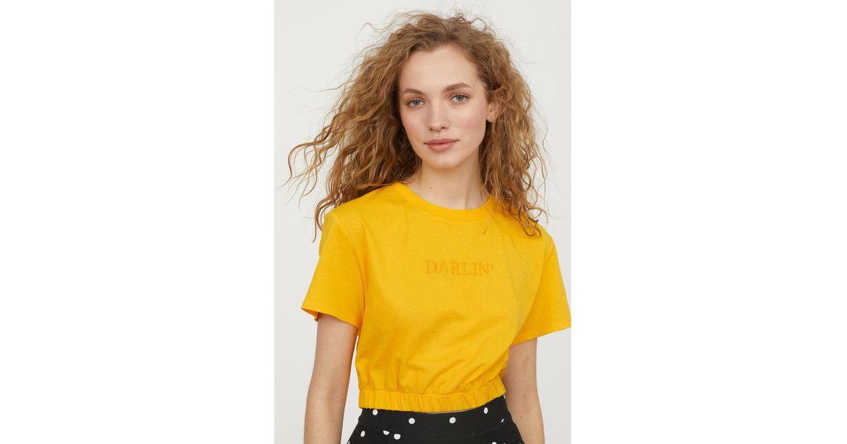 3ff686ded57fea Lyst - H M Short T-shirt in Yellow
