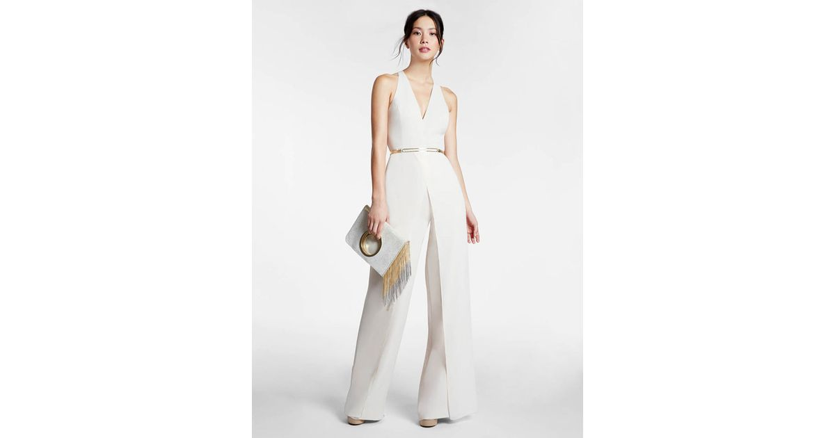 1e978c37447 Lyst - Halston Belted Crepe Georgette Overlay Jumpsuit in White