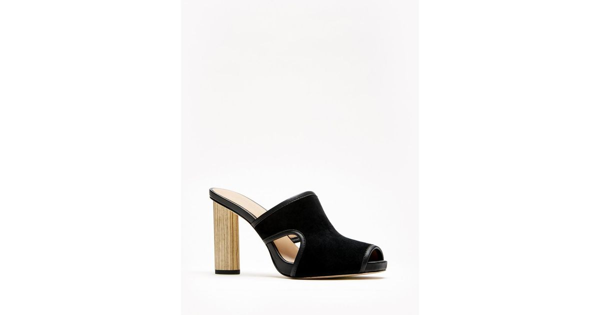 b395c00fd1b Lyst - Halston Lizy Wooden High Heel Sandal in Black
