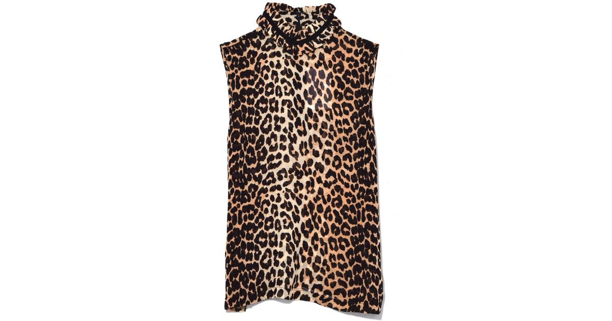 1356fdad Ganni Fairfax Georgette Top In Leopard in Black - Lyst