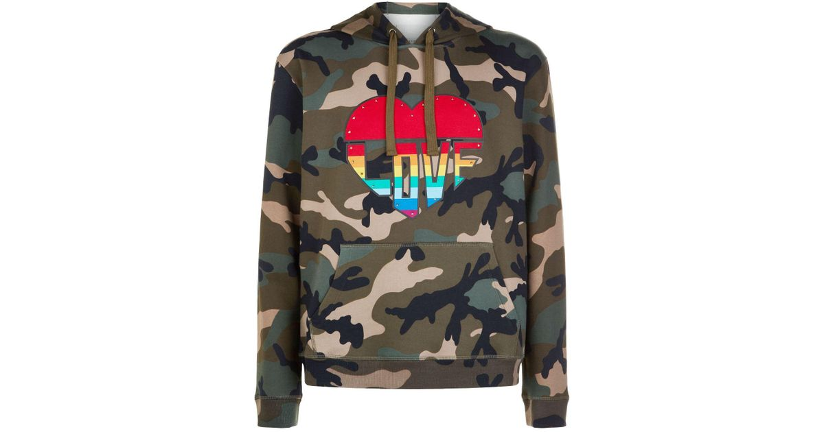 f8990424d43bf Lyst - Valentino Rainbow Heart Camouflage Hoodie in Green for Men