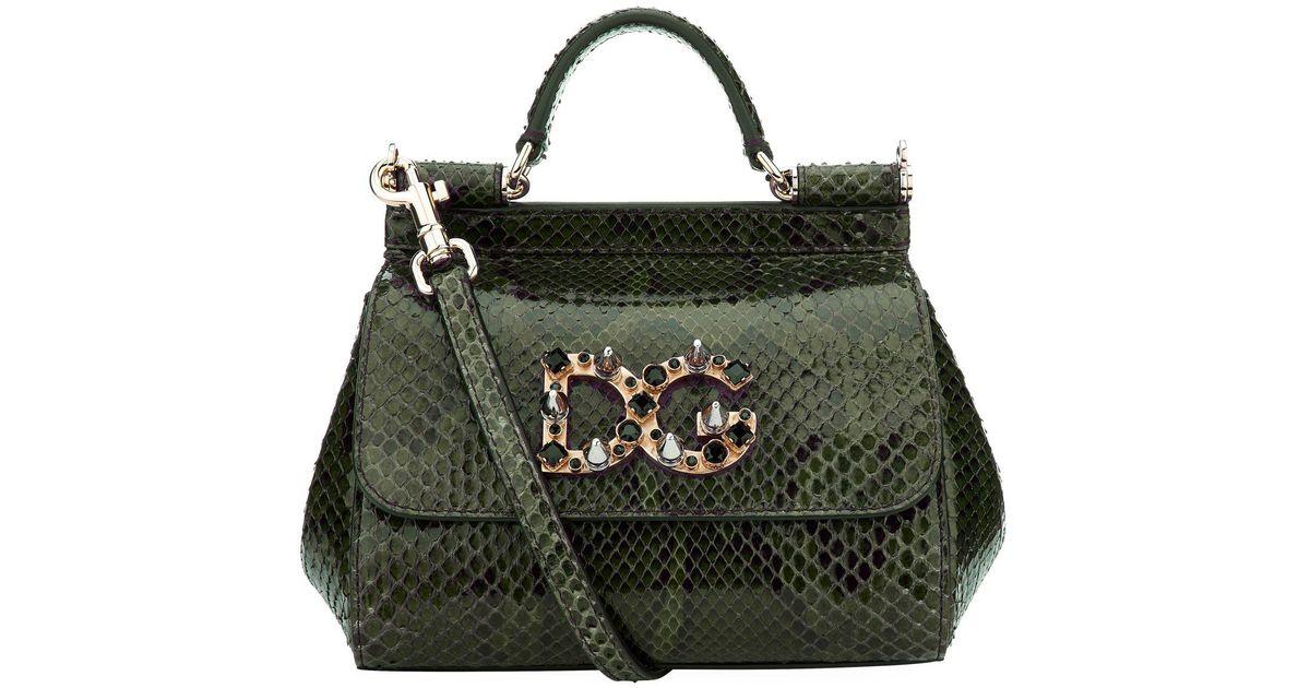 87ea642ca45b Lyst - Dolce   Gabbana Mini Sicily Embellished Python Shoulder Bag