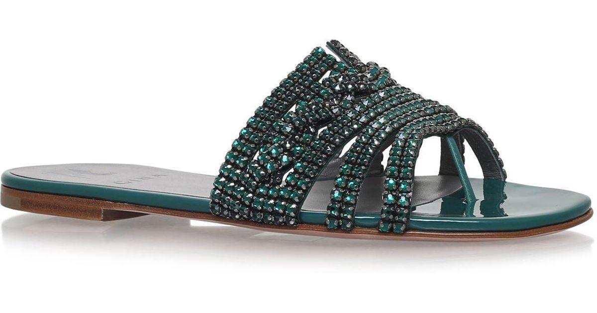 462a5f9e4 Gina Loren Jewelled Sandals in Green - Lyst