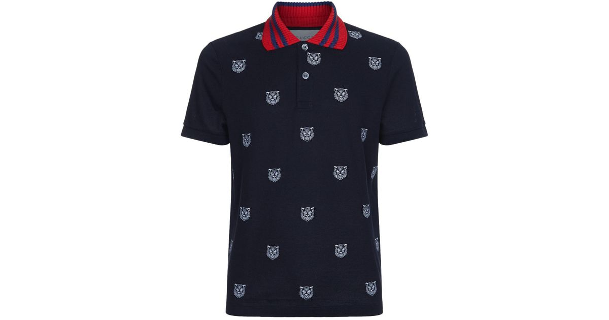 406b16eee Gucci Tiger Head Contrast Collar Polo Shirt in White for Men - Lyst