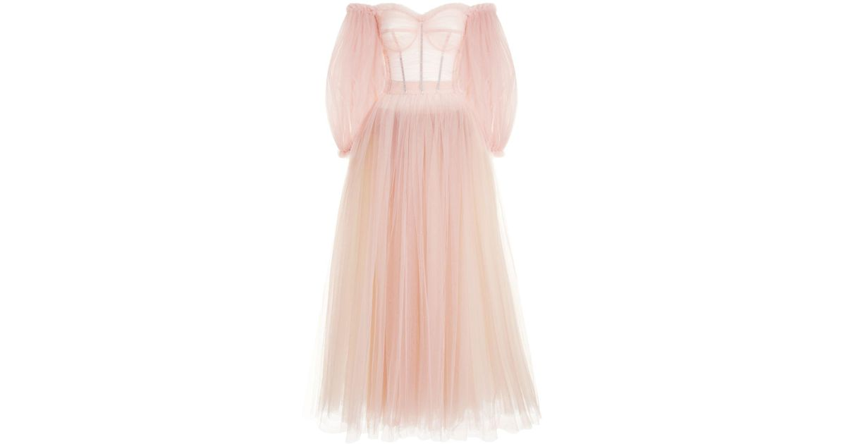 Lyst - Dolce & Gabbana Gathered Tulle Gown in Pink
