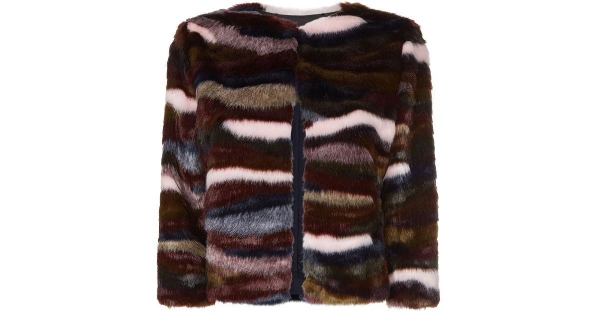 27ced51e338d Lyst - Ted Baker Robarla Multicoloured Faux Fur Jacket in Brown