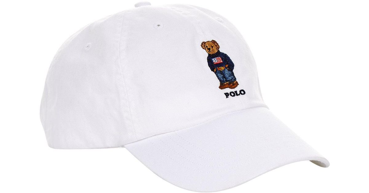 fc1c4f7f8f9f4 Polo Ralph Lauren Embroidered Bear Cap in White for Men - Lyst