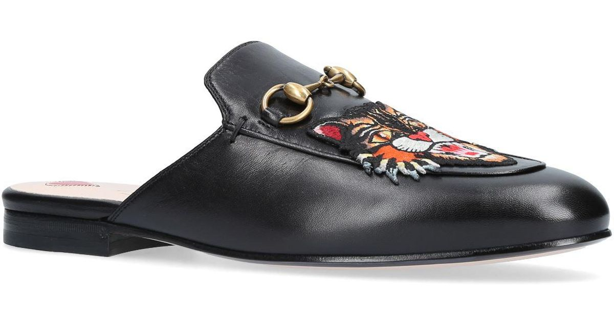 6d9fb129a2c Lyst - Gucci Princetown Tiger Slide Loafers in Black