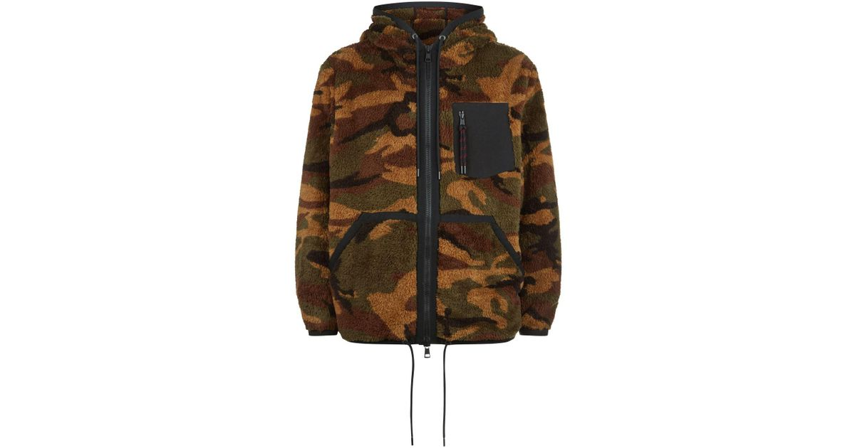 d5ce1a58ebcc6 Moncler Camouflage Fleece Zipped Hoodie in Green for Men - Lyst
