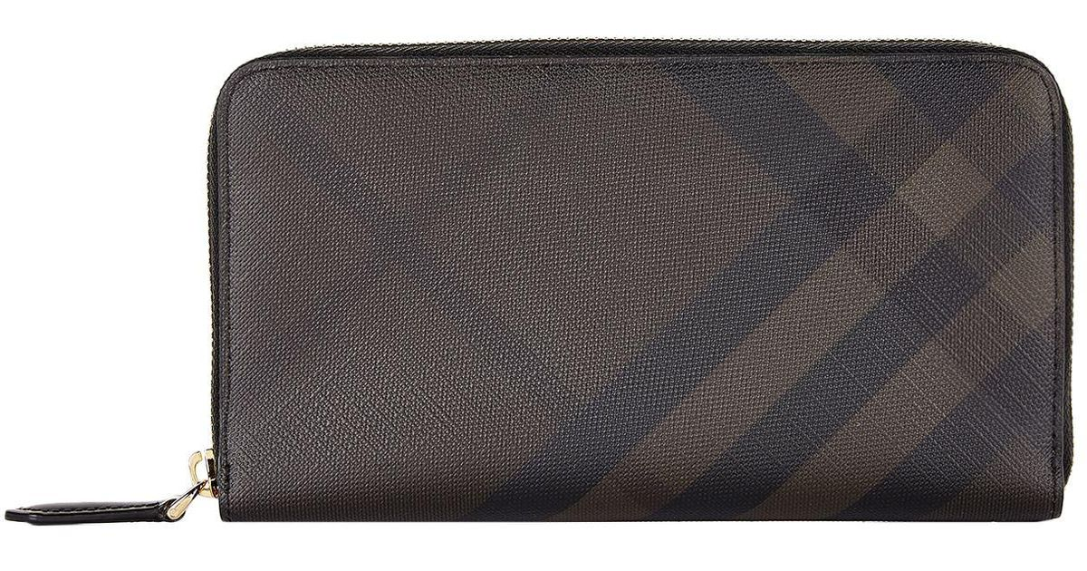 b1780f7e145 Lyst - Burberry London Check Zip Around Wallet in Brown for Men