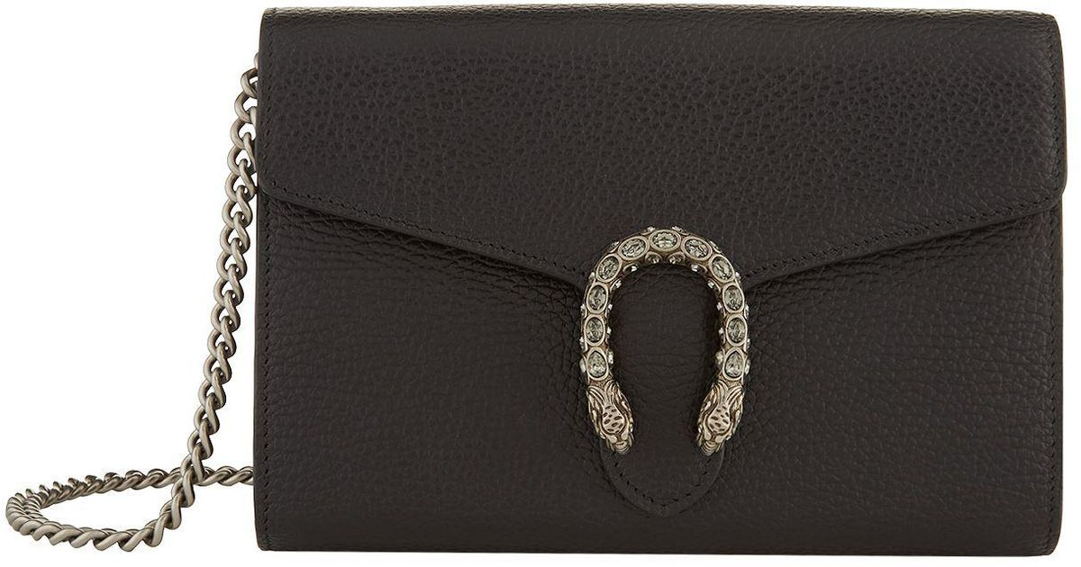 76a255118e88 Gucci Dionysus Wallet Chain Bag in Black - Lyst
