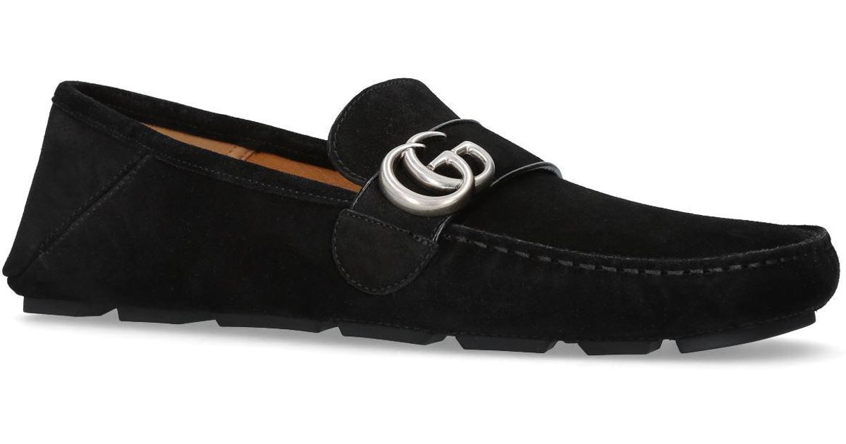 4e24db1292f Gucci Noel Suede Driving Loafers in Black for Men - Lyst