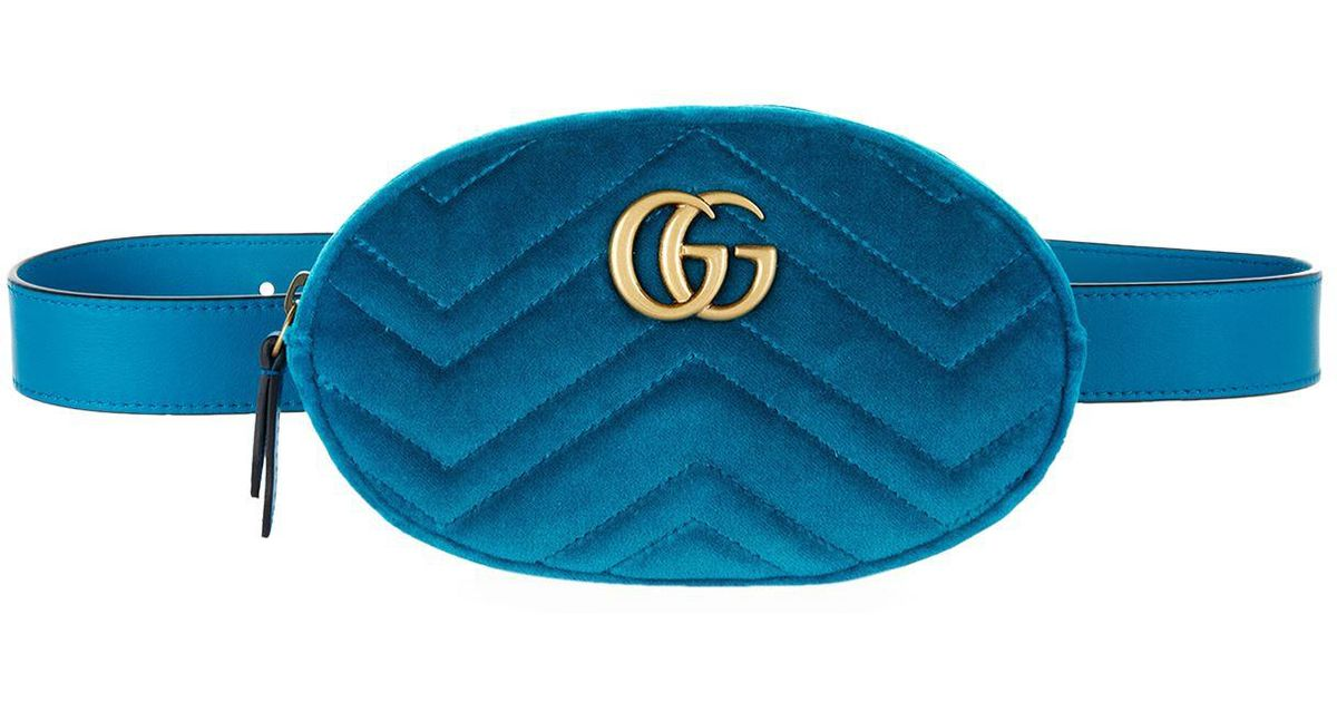 75ae1d1e08a01f Gucci Marmont Velvet Belt Bag in Blue - Lyst