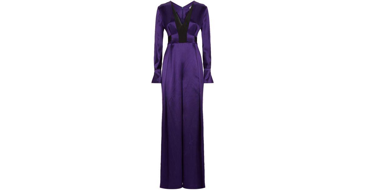 505877191ceb Amanda Wakeley Belted Jumpsuit in Purple - Lyst