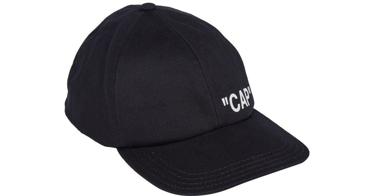 ccccad67925316 Off-White c/o Virgil Abloh Quote Baseball Cap in Black for Men - Lyst