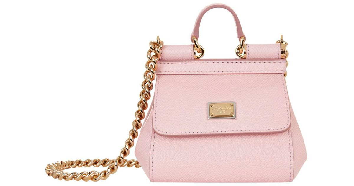 d4e857afac40 Lyst - Dolce   Gabbana Nano Leather Sicily Bag in Pink