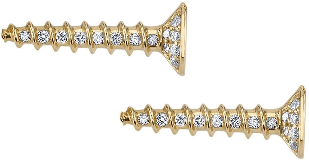 Sydney Evan Yellow Gold And Diamond Horizontal Stud Earrings In White Lyst