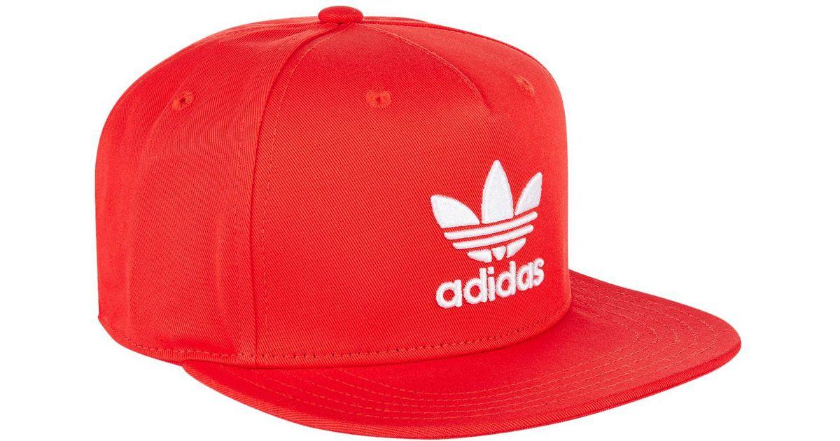 e1bab823d37 Lyst - adidas Originals Trefoil Trucker Cap in Red for Men