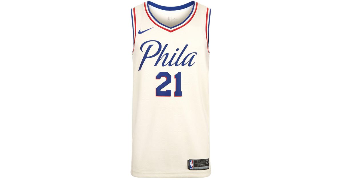 b0b3c6a74 Nike Joel Embiid Philadelphia 76ers Basketball Jersey in White for Men -  Lyst