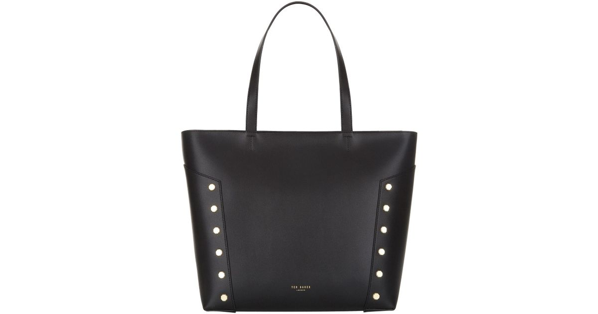 67485564a Ted Baker Tamiko Studded Edge Leather Shopper Bag in Black - Lyst