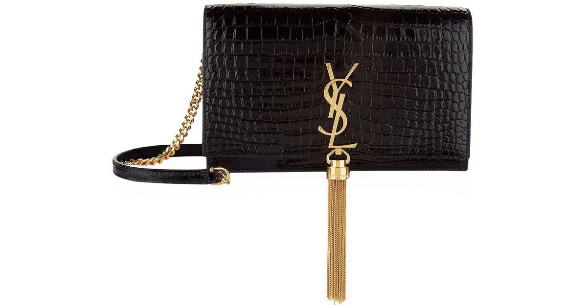 Saint Laurent Mini Croc-embossed Kate Tassel Shoulder Bag in Black - Lyst 6912e69fbdd6c