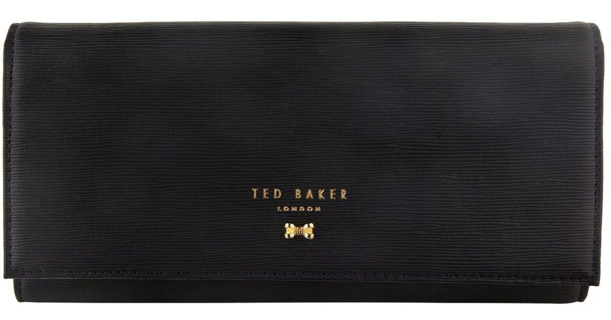 f4ccd11433fbdd Ted Baker Pansie Looped Bow Leather Matinee Purse in Black - Lyst