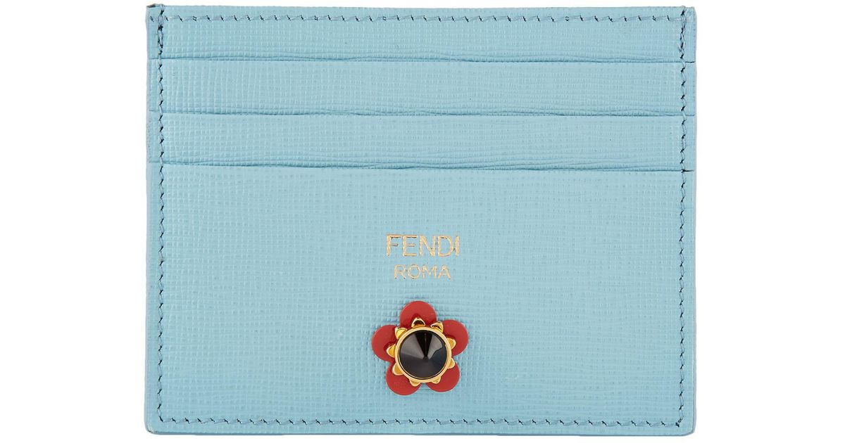05fe2256fcee Lyst - Fendi Metallic Flower Card Holder in Blue
