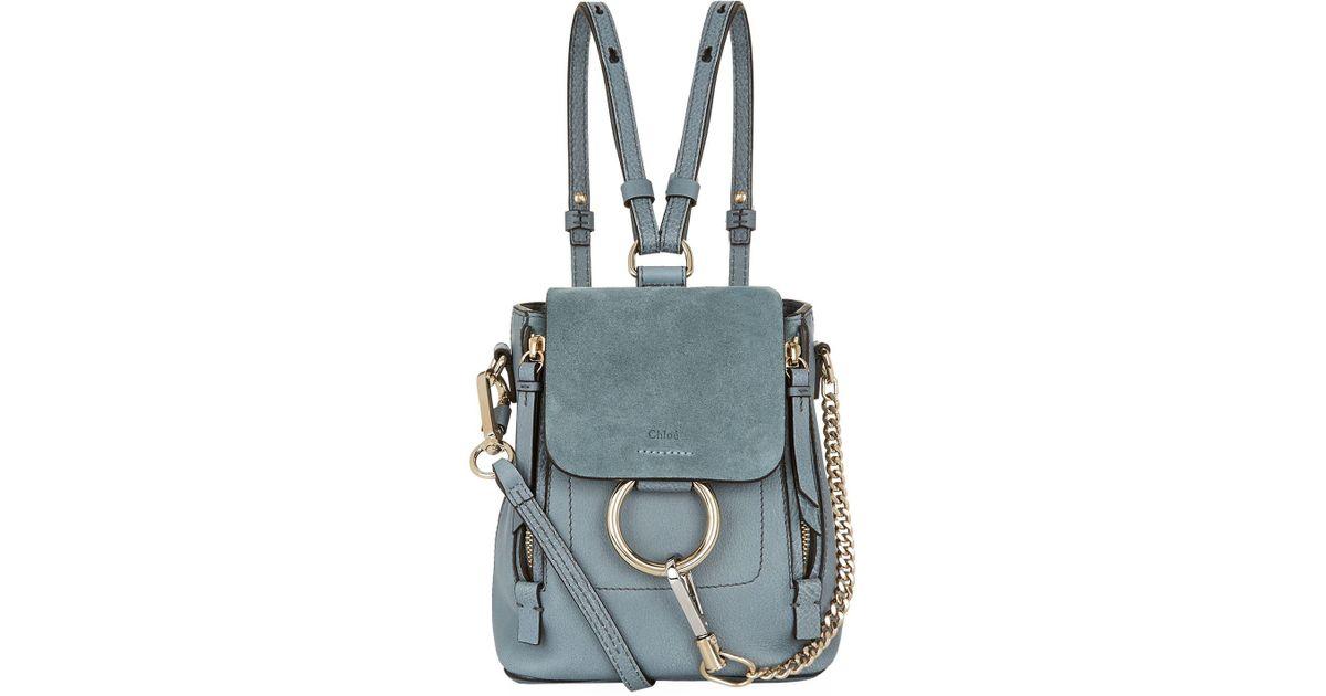 0ff650665 Chloé Mini Faye Backpack in Blue - Lyst