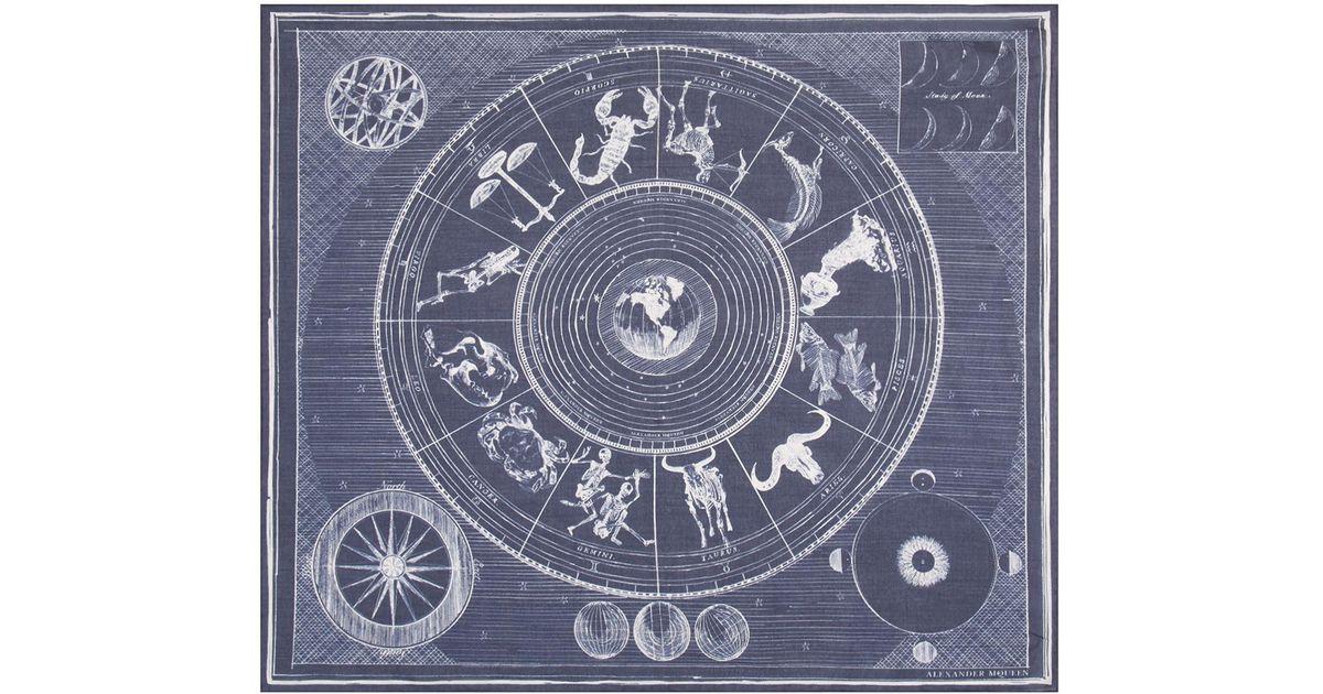 5bc3bd24bcd82 Alexander McQueen Zodiac Pocket Square in Blue for Men - Lyst
