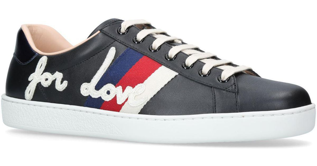 0279061c27db Gucci New Ace Blind For Love Sneakers in Black for Men - Lyst