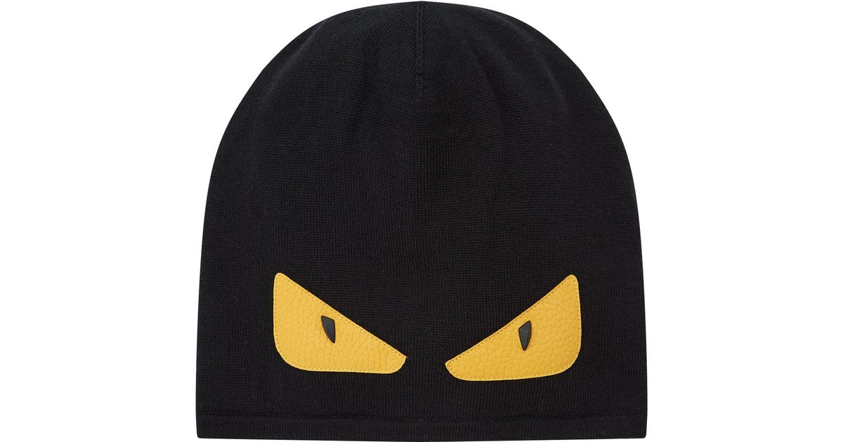 6ae49fbb9c1 Lyst - Fendi Knitted Monster Eye Beanie in Black for Men