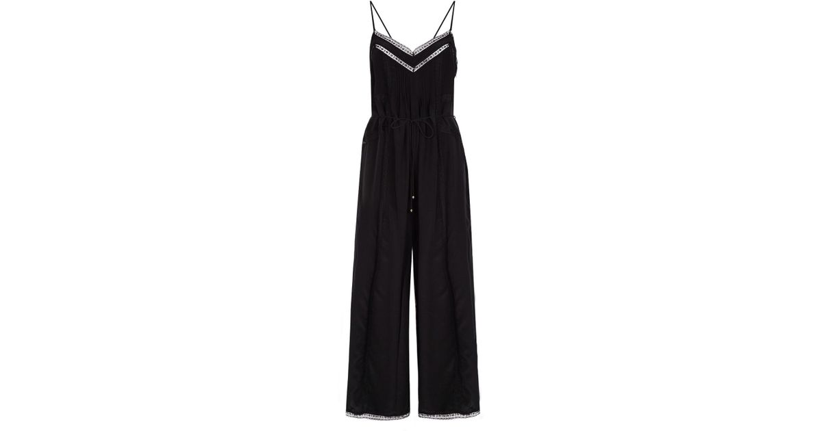 a56ae231d3a0 Zimmermann Lace-trim Slip Jumpsuit in Black - Lyst