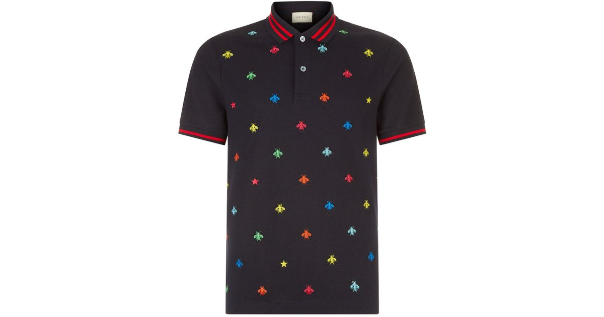 1b6197b75 Gucci Insect Embroidered Polo Shirt in Blue for Men - Lyst