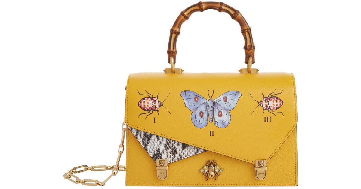 0c0ef7d0e26 Lyst - Gucci Ottilia Butterfly Top Handle Bag in Yellow