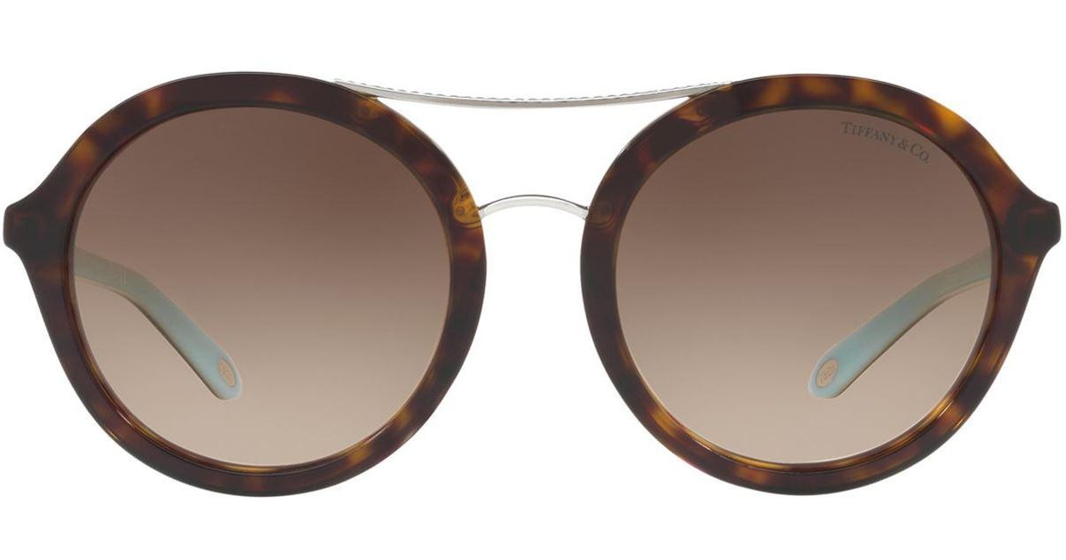 67152e5238a Lyst - Tiffany   Co Tortoiseshell Round Sunglasses in Brown
