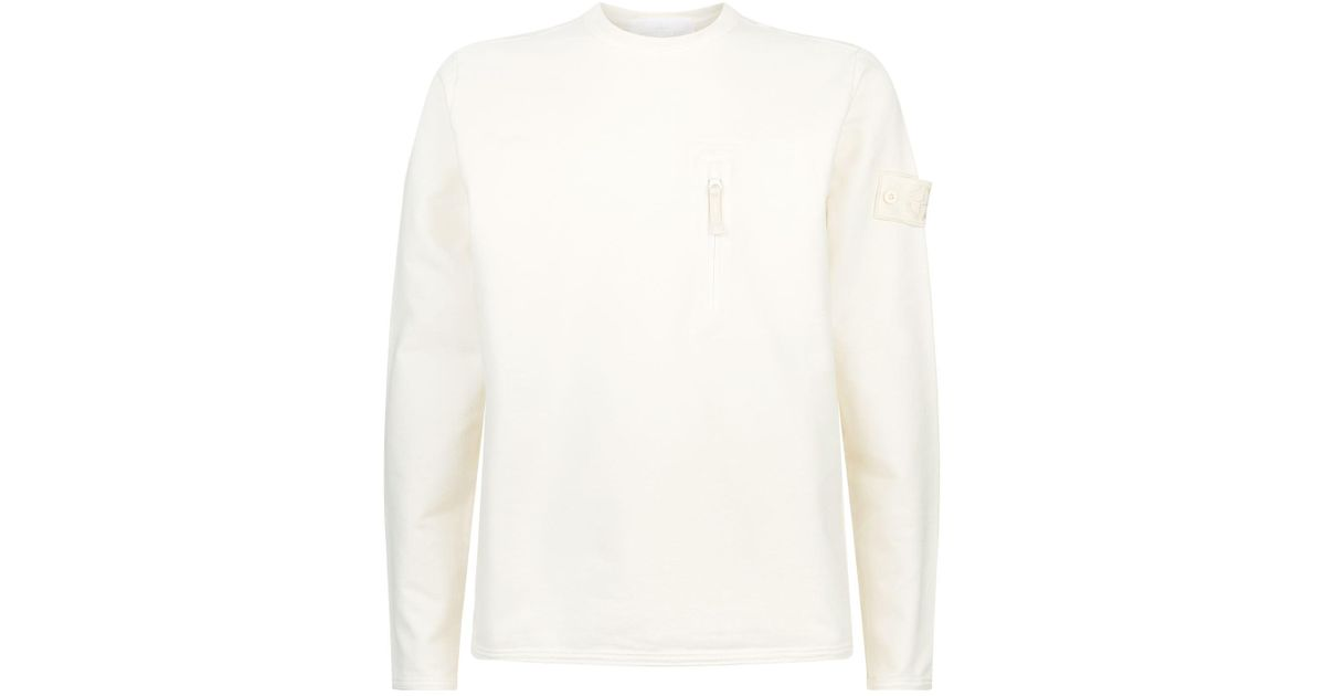 Lyst Stone Island Ghost Crew Neck Sweater In White For Men