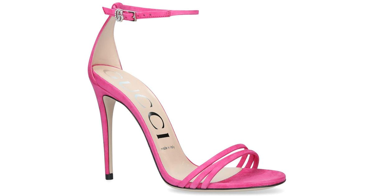 ef2bdd509993 Lyst - Gucci Suede Ilse Sandals 110 in Pink