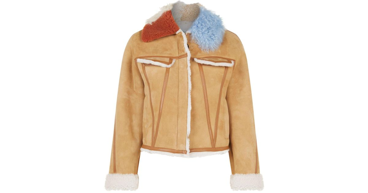 26070c17a3b0b Off-White c o Virgil Abloh Cropped Shearling Jacket in Brown - Lyst