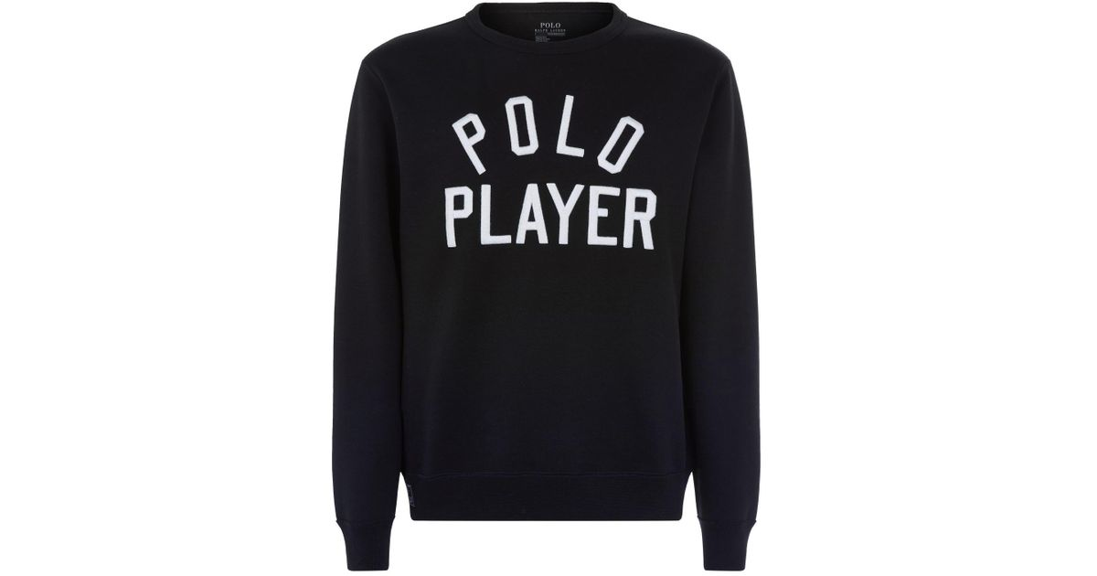 7a5f6c1d Polo Ralph Lauren Polo Player Embroidered Sweatshirt in Black for Men - Lyst
