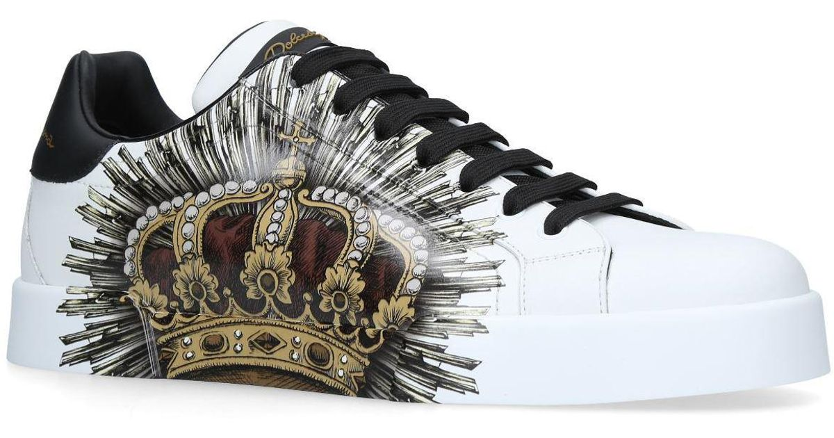 cheap for discount be6f2 ae482 Dolce   Gabbana Portofino Crown Sneakers in White for Men - Lyst