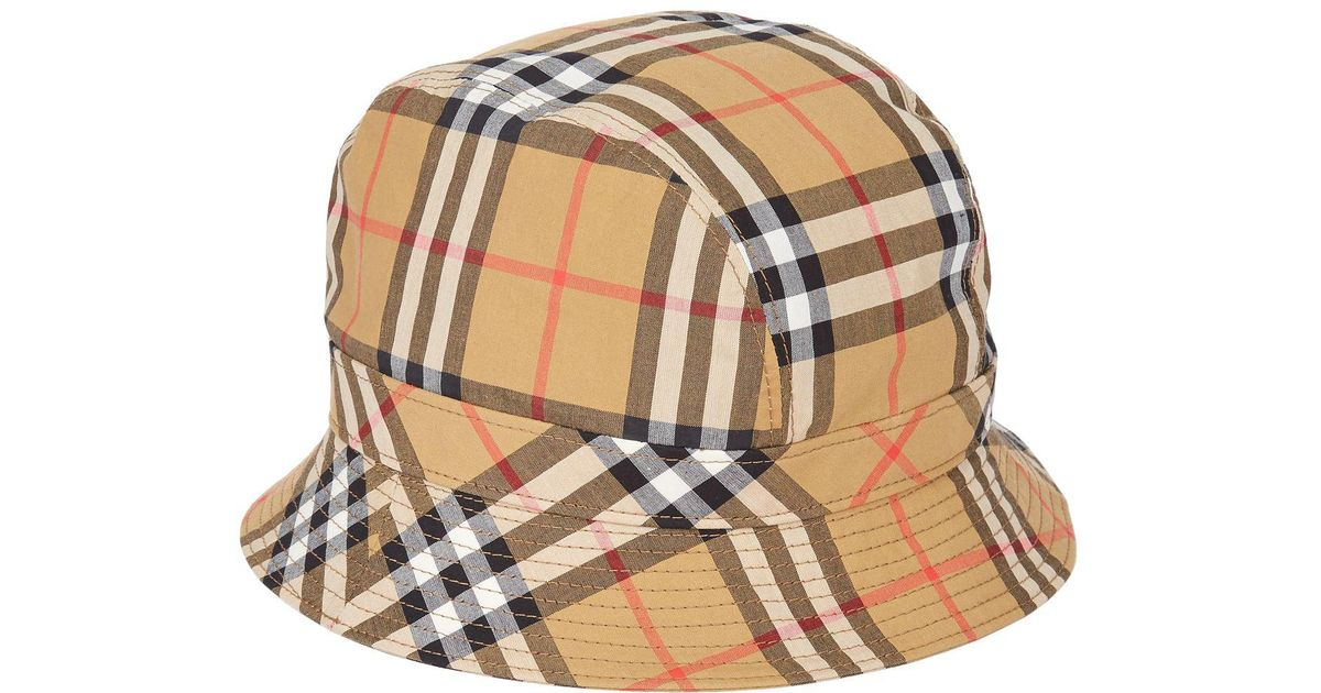 Lyst - Burberry Vintage Check Bucket Hat in Yellow 750fbaec776