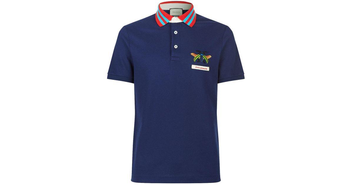 e5a3d71fa Gucci Animalium Polo Shirt in Blue for Men - Lyst