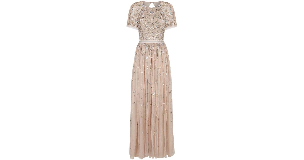 Lyst - Needle & Thread Comet Floral Embellished Gown in Pink