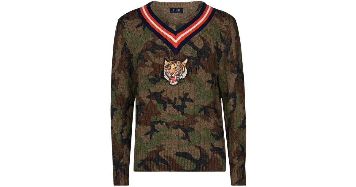 432a3f10e Lyst - Polo Ralph Lauren Camouflage Tiger Cable Knit Sweater in Green for  Men