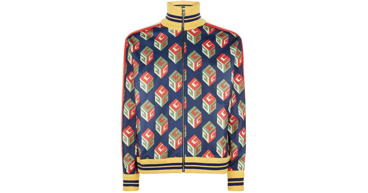 4cdcd294a Gucci GG Wallpaper Technical Jersey Jacket in Blue for Men - Lyst