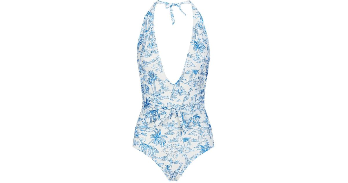 cab8afce3870 Tory Burch Tie Front Swimsuit in White - Lyst