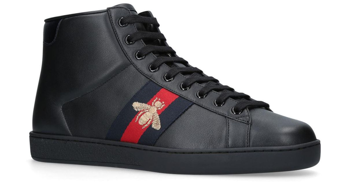 d5dd02688 Gucci New Ace Bee Embroidered High Top Sneakers in Black for Men - Lyst
