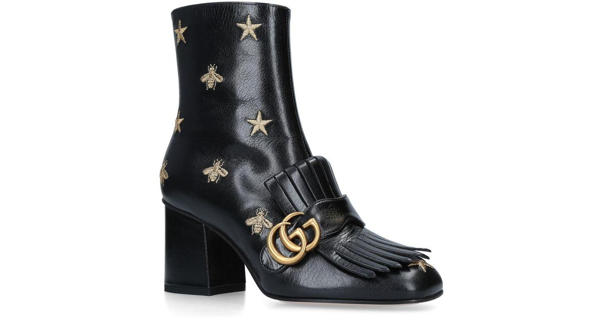 5c439ed69f95 Lyst - Gucci Leather Marmont Ankle Boots 75 in Black